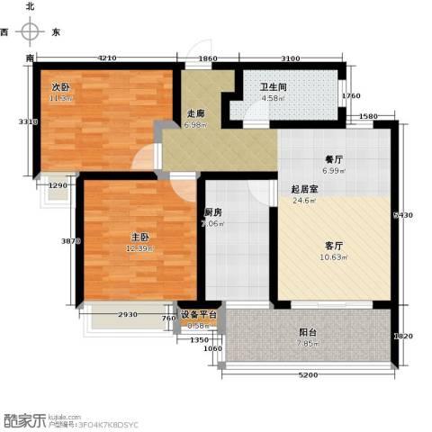 陆家嘴锦绣前城2室0厅1卫1厨80.00㎡户型图
