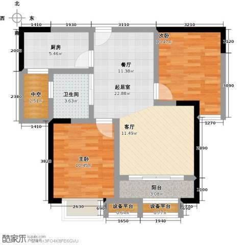 蓝光星华・海悦城2室0厅1卫1厨70.00㎡户型图