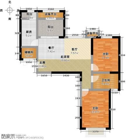 蓝光星华・海悦城2室0厅1卫1厨85.00㎡户型图