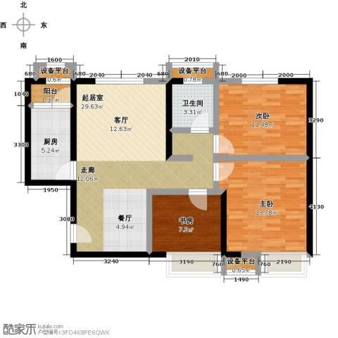 蓝光星华・海悦城3室0厅1卫1厨88.00㎡户型图
