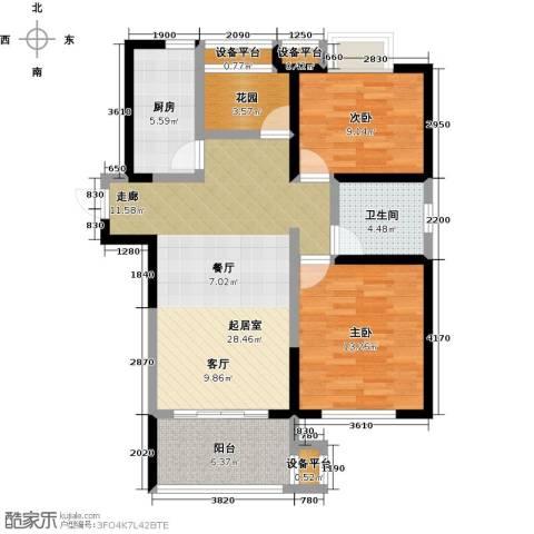 铜冠花园2室0厅1卫1厨107.00㎡户型图