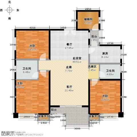 逸都城市岛3室0厅2卫1厨150.00㎡户型图