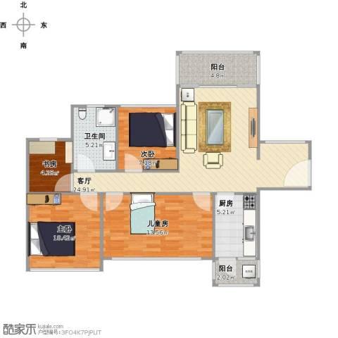 凯南莱弗城4室1厅1卫1厨106.00㎡户型图