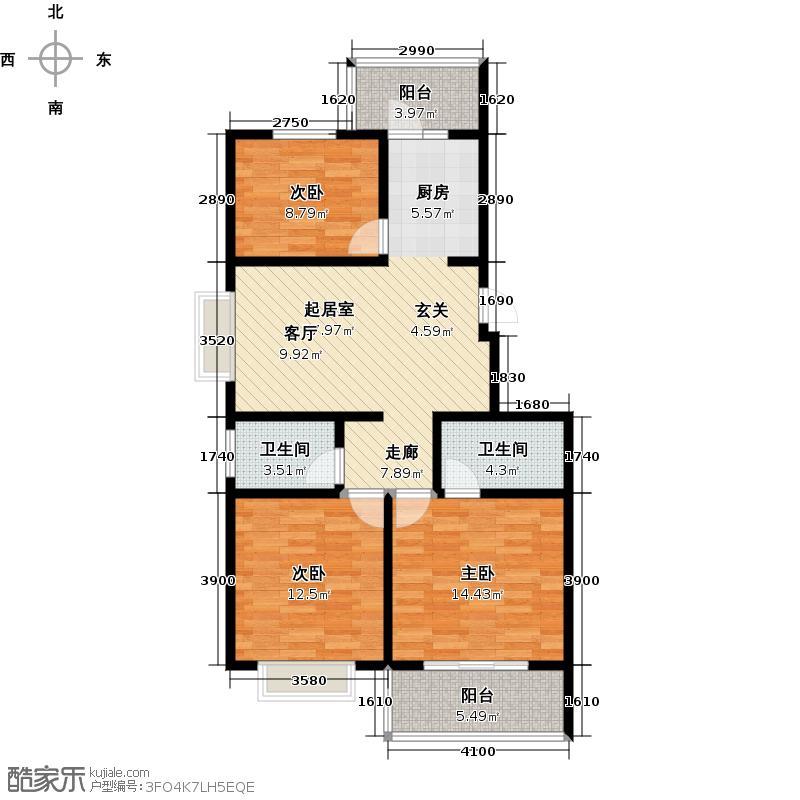 中和金佰3室2厅2卫92.1平米户型3室2厅2卫LL