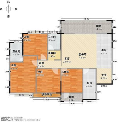 三祺九个半岛4室1厅2卫1厨136.00㎡户型图