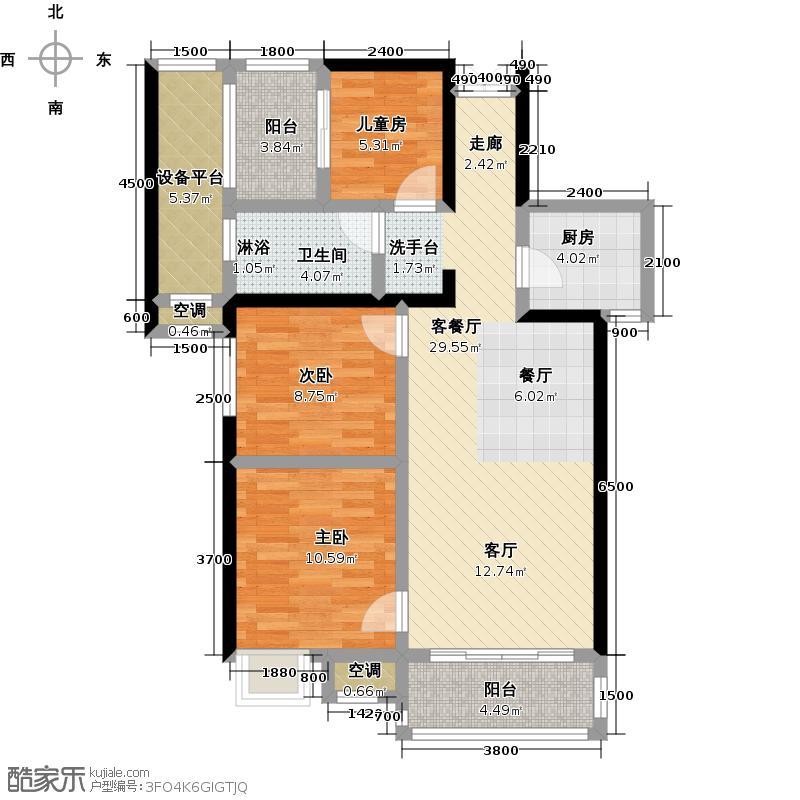 骏乘亿发城96.20㎡1#B户型三房二厅一卫 建筑面积:96.2㎡户型3室2厅1卫