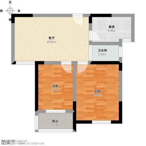 红星桃花源2室1厅1卫1厨78.00㎡户型图