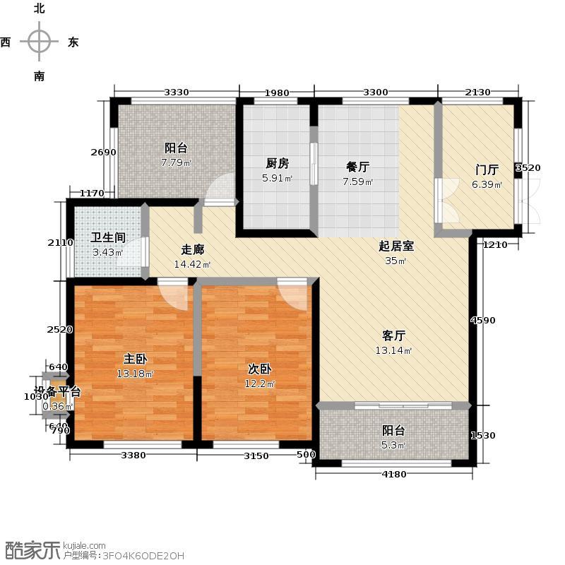北城世纪城108.00㎡108平米三室两厅一卫户型3室2厅1卫