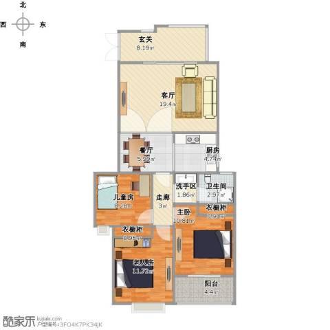 友创滨河湾112平米三室两厅一卫户型3室2厅1卫1厨114.00㎡户型图