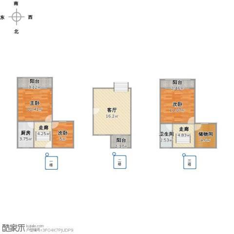 健安坊3室1厅1卫1厨95.00㎡户型图