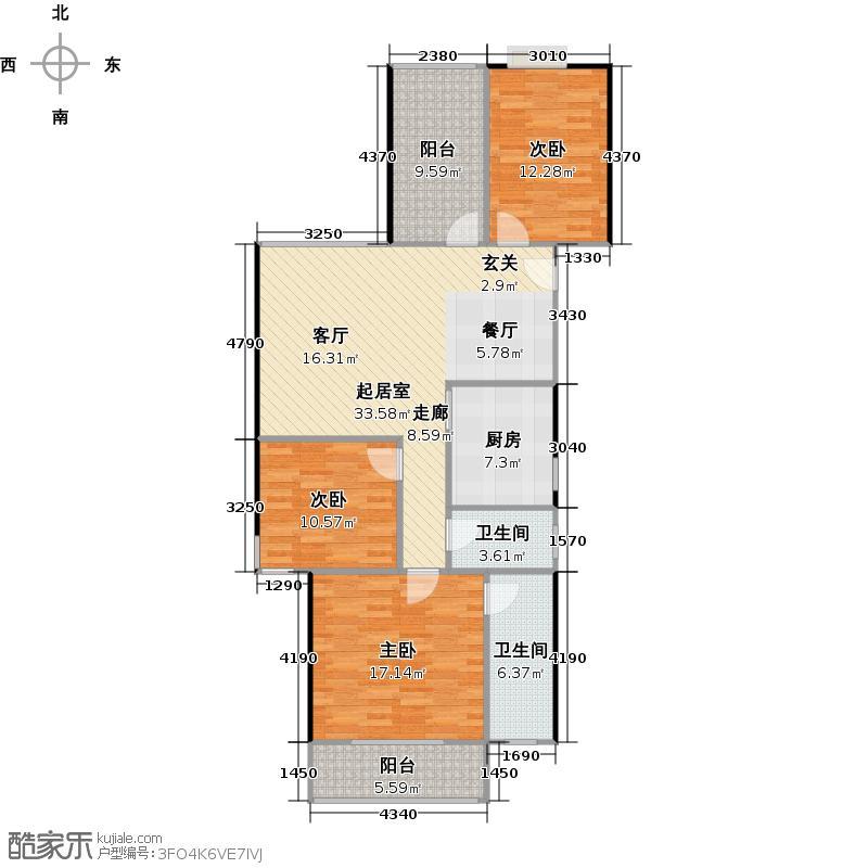 公园林涧114.27㎡D-4层:3房2厅2卫户型