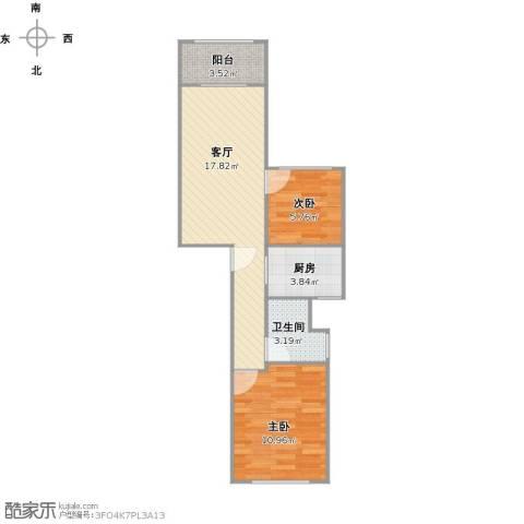 佳虹小区2室1厅1卫1厨61.00㎡户型图