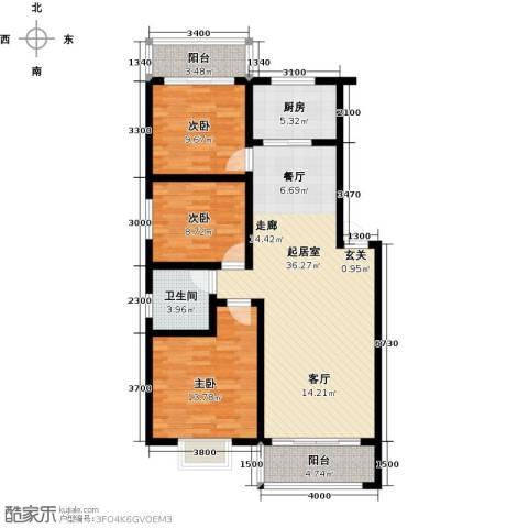 丽景华庭3室0厅1卫1厨124.00㎡户型图