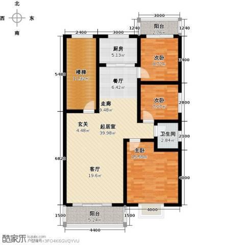 丽景华庭3室0厅1卫1厨142.00㎡户型图