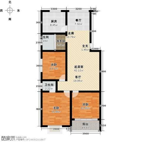 丽景华庭3室0厅2卫1厨144.00㎡户型图