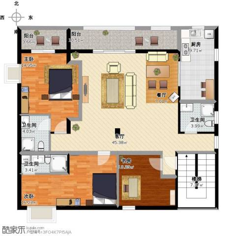万科柏悦湾3室1厅3卫1厨181.00㎡户型图