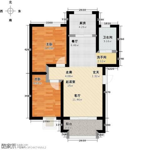 东方嘉苑二期2室0厅1卫1厨79.00㎡户型图