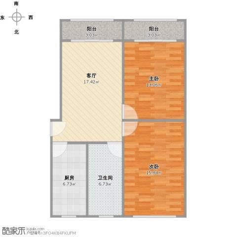 控江五村2室1厅1卫1厨89.00㎡户型图