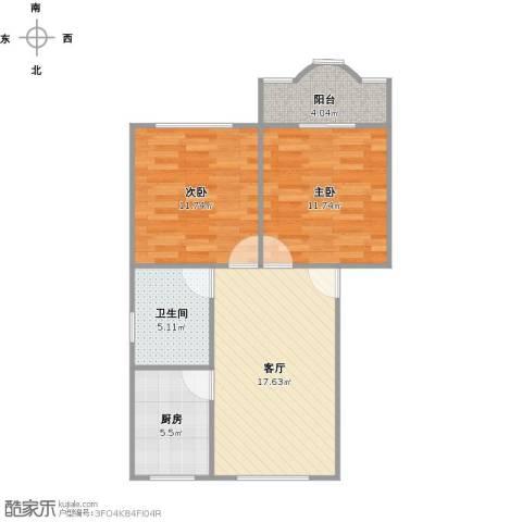 莲溪八村2室1厅1卫1厨75.00㎡户型图