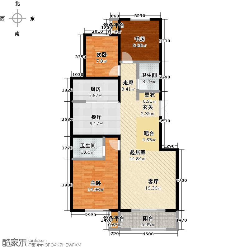 紫霞胜境125.39㎡3C 3室2厅2卫 125.39㎡户型3室2厅2卫