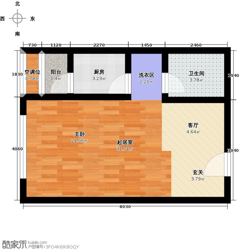 恒丰蓝波湾47.32㎡一室两厅一卫户型1室2厅1卫
