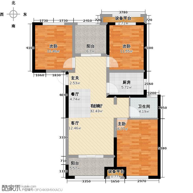 公园道1号113.00㎡3+1C3户型3室2厅1卫