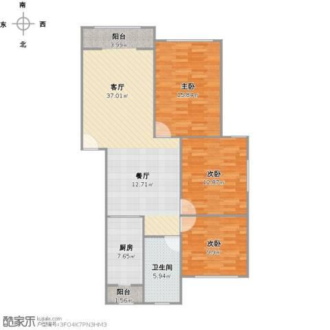 华城丽苑3室1厅1卫1厨118.00㎡户型图