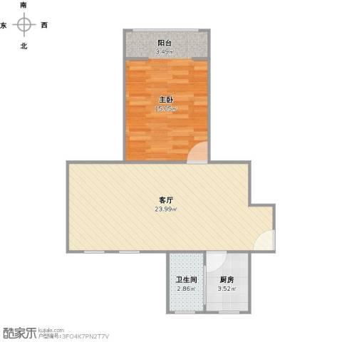 博山小区1室1厅1卫1厨60.00㎡户型图