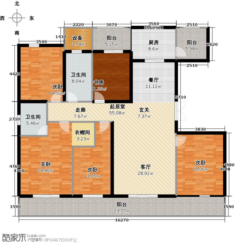 南阳建业凯旋广场户型5室2卫1厨