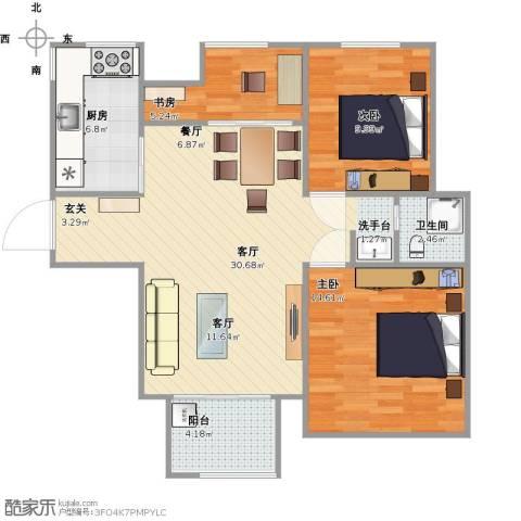 融侨华府3室1厅1卫1厨94.00㎡户型图
