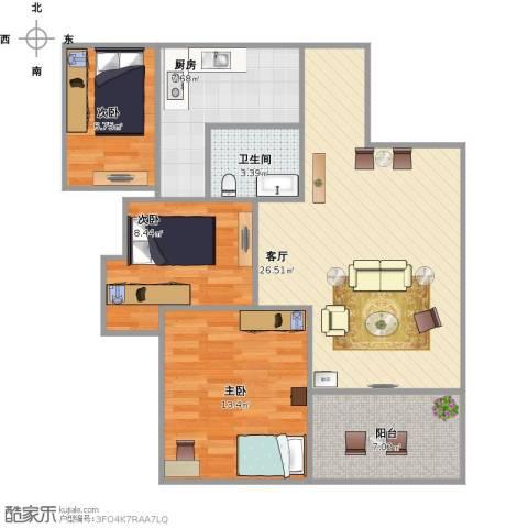碧水龙庭二期3室1厅1卫1厨79.06㎡户型图