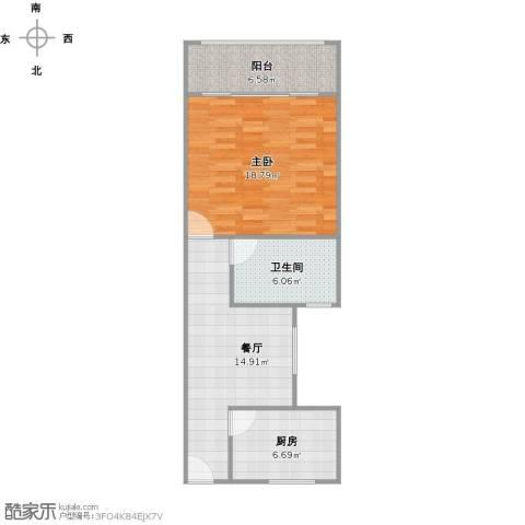 开鲁六村1室1厅1卫1厨57.36㎡户型图