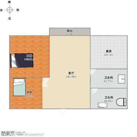 金澜名邸2室1厅2卫1厨996.00㎡户型图