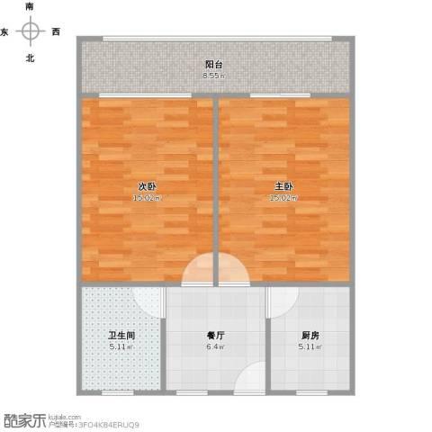 殷行路650弄小区2室1厅1卫1厨75.00㎡户型图