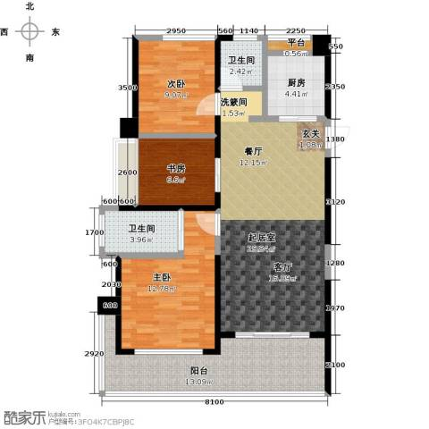 泽华・上东海岸3室0厅2卫1厨103.00㎡户型图