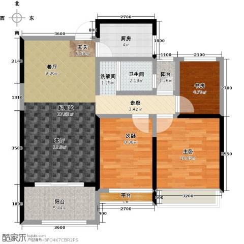 泽华・上东海岸3室0厅1卫1厨78.00㎡户型图
