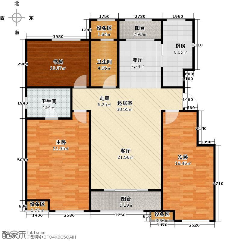 中海国际社区A1户型 雍景尚居 三室两厅两卫户型3室2厅2卫