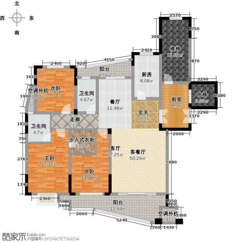 樱花半岛户型3室1厅2卫1厨