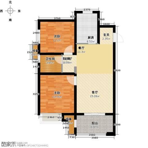 徐州华润绿地・凯旋门2室1厅1卫1厨108.00㎡户型图