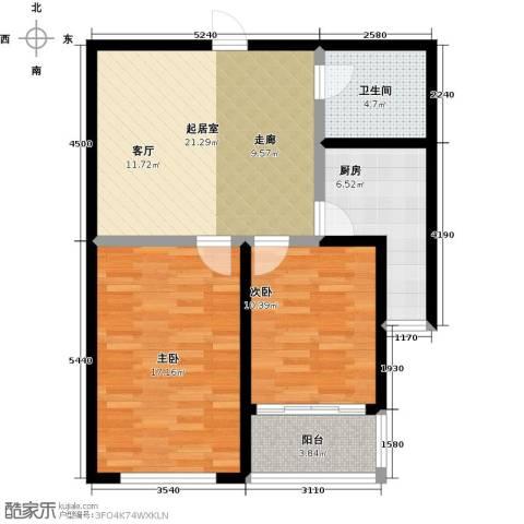 邢台玫瑰镇2室0厅1卫1厨74.00㎡户型图