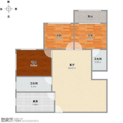 太阳公寓3室1厅2卫1厨102.00㎡户型图
