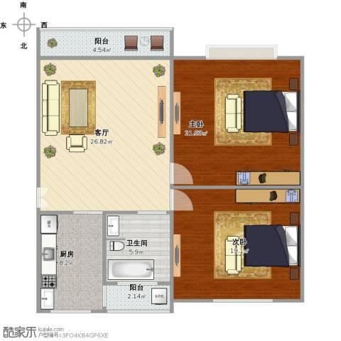 高行绿洲2室1厅1卫1厨118.00㎡户型图