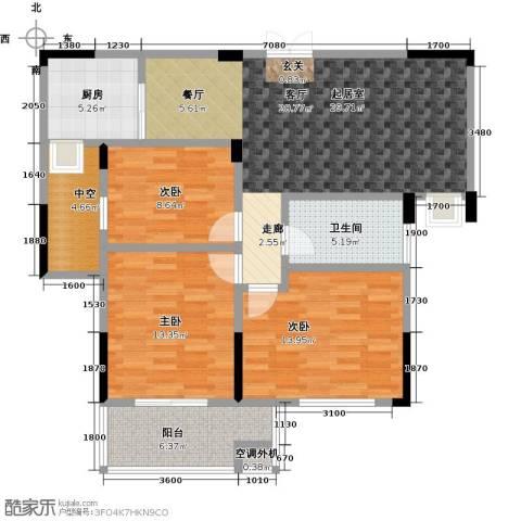 佳源城市花园3室0厅1卫1厨124.00㎡户型图