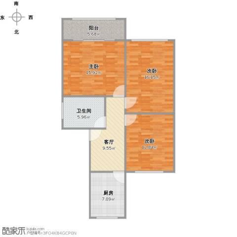 东五小区3室1厅1卫1厨99.00㎡户型图