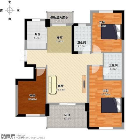 方正荷塘月色3室1厅2卫1厨138.00㎡户型图