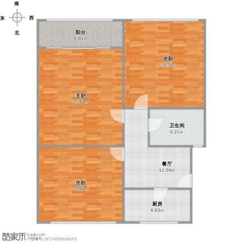 殷行路451弄小区3室1厅1卫1厨131.00㎡户型图