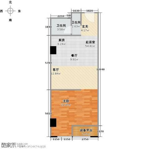 百悦 梧桐中心1卫0厨64.00㎡户型图