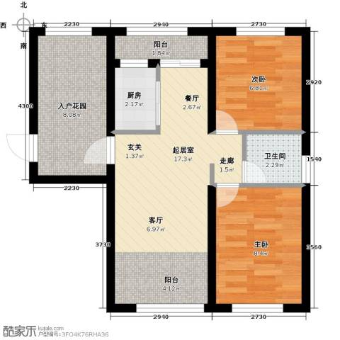 辰能溪树河谷2室0厅1卫1厨69.00㎡户型图