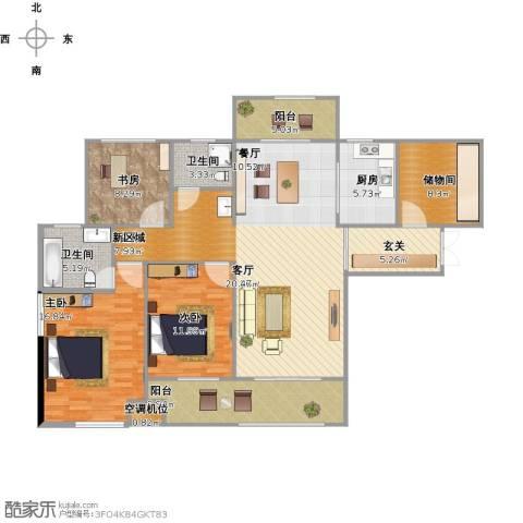 弘建一品3室1厅2卫1厨162.00㎡户型图