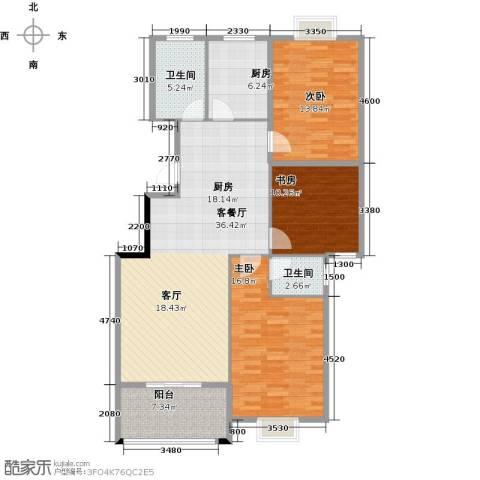 城投幸福家园3室1厅2卫1厨122.00㎡户型图
